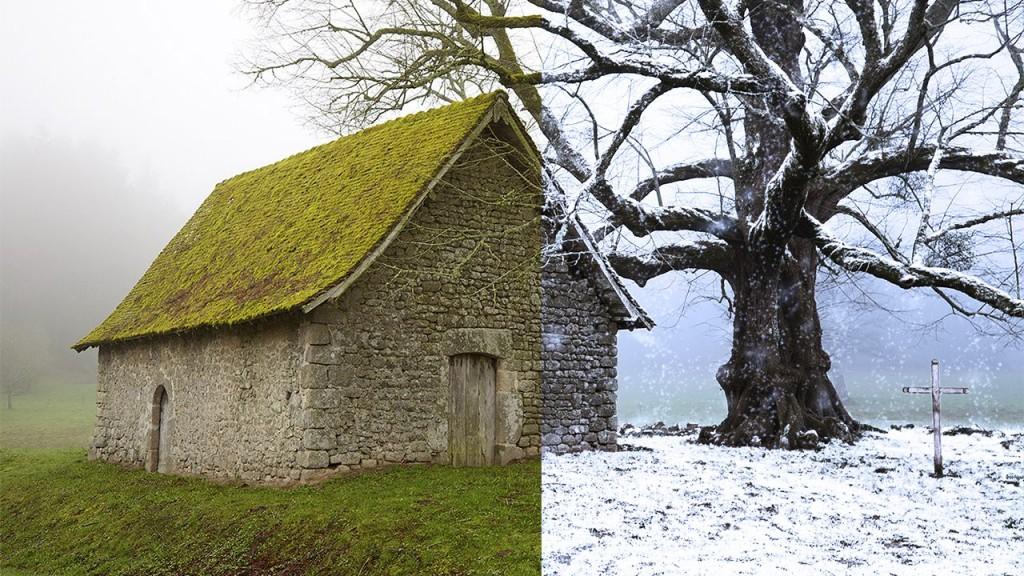 Превращаем летний пейзаж в зимний