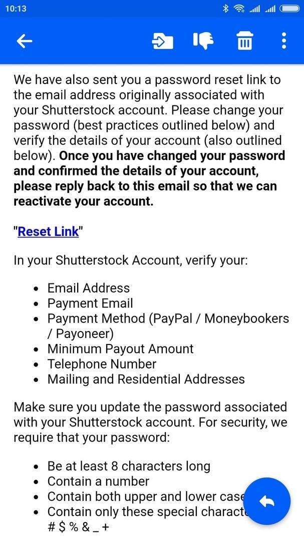 Shutterstock заблокировал аккаунт