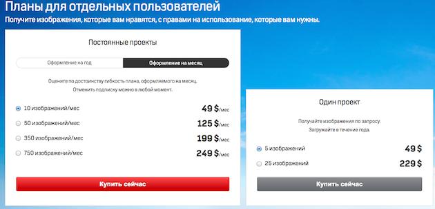 Цены на Shutterstock